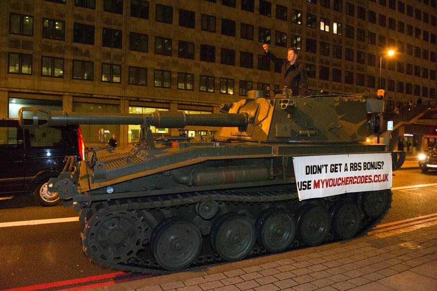 RBS bonus tank PR stunt, MyVoucherCodes