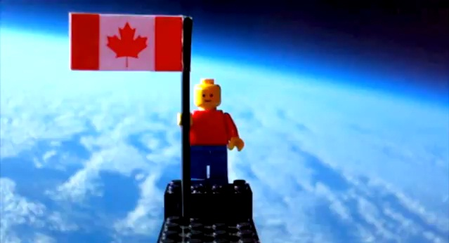 Lego man PR stunt Canada space blasted