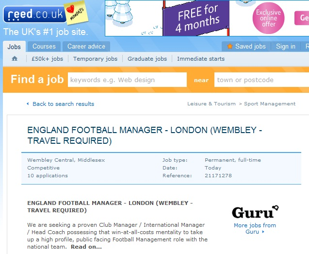 Reed.co.uk England Football manager job ad