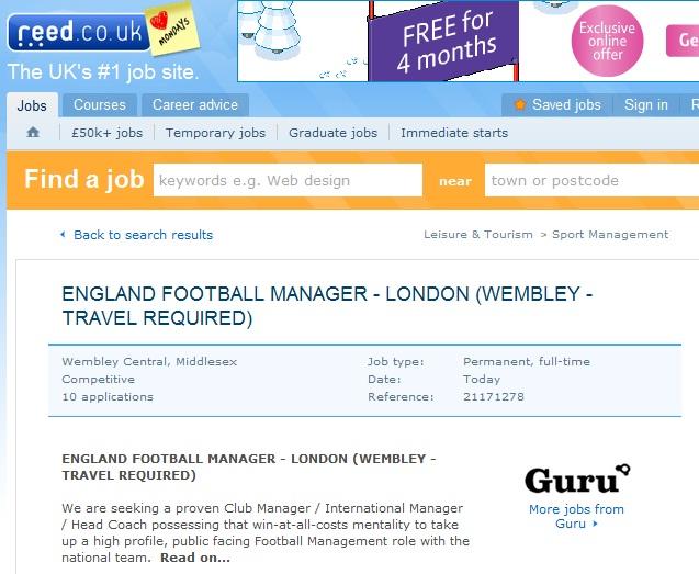 Reed.co.uk England Football manager job ad