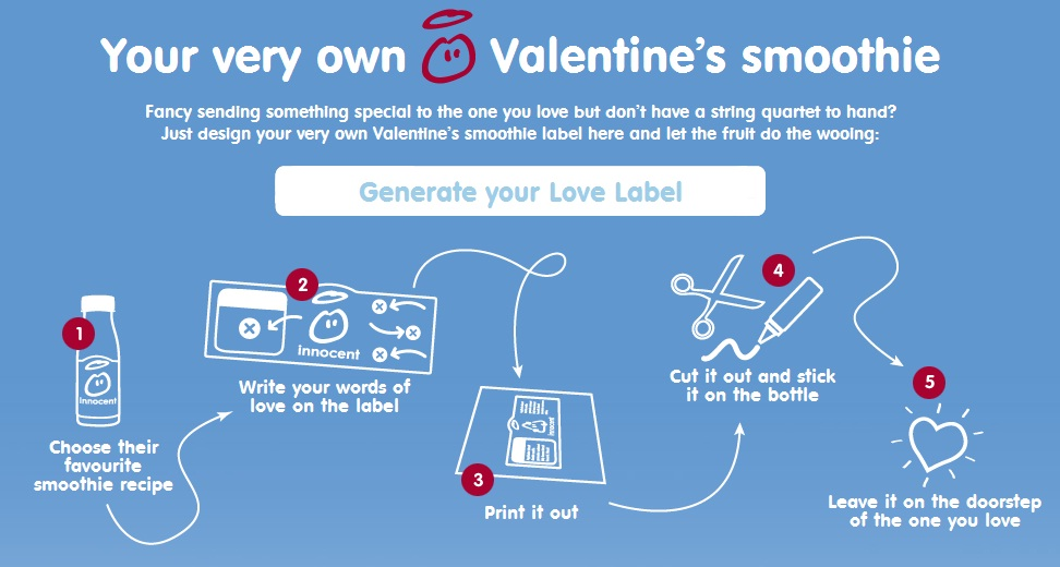 Love label Innocent Drinks Valentine's Day