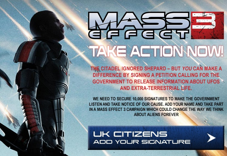 mass effect 3 petition government aliens