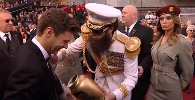 Sacha Baron Cohen spills 'Kim Jong-il's ashes' in Oscars stunt
