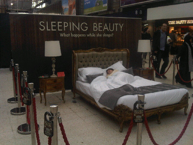 Movie stunt Sleeping Beauty Waterloo Station