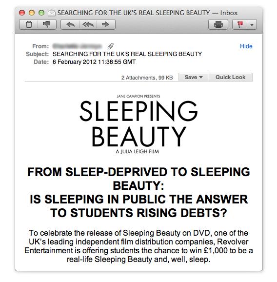 Sleeping Beauty PR stunt students