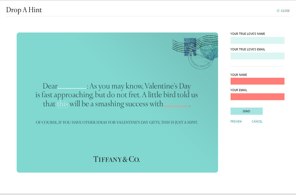 Tiffany Co Drop A Hint This Valentine S Day Pr Examples