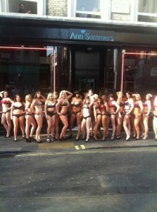 Dozens take part in lingerie-clad Ann Summers high street stunt