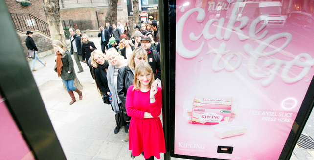 mr kipling free cake ad queue london angel slice