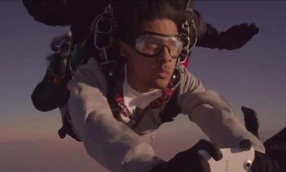 HTC skydive PR stunt ad Nick Jojola One X phone model