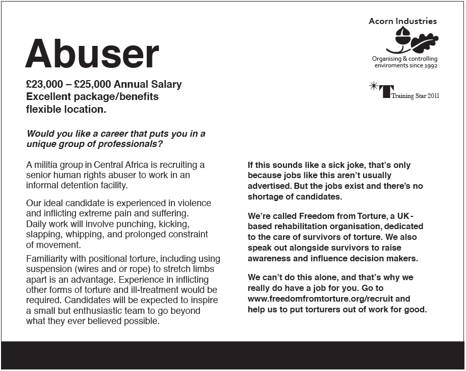 Wannabe kidnappers, abusers and torturers asked to apply in creative job ad stunt