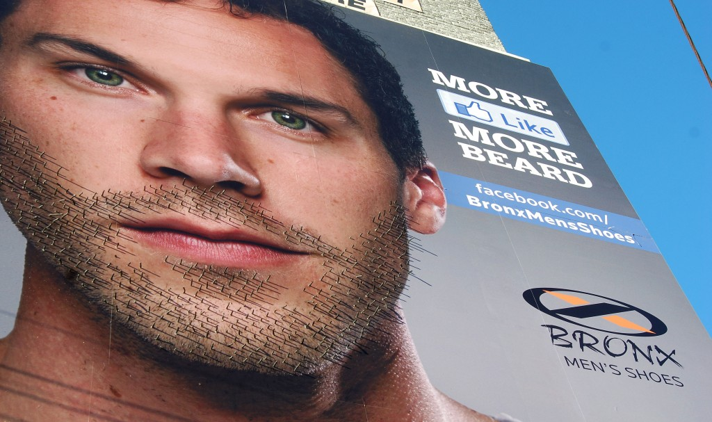 bronx men's shoes beard grow ad billboard