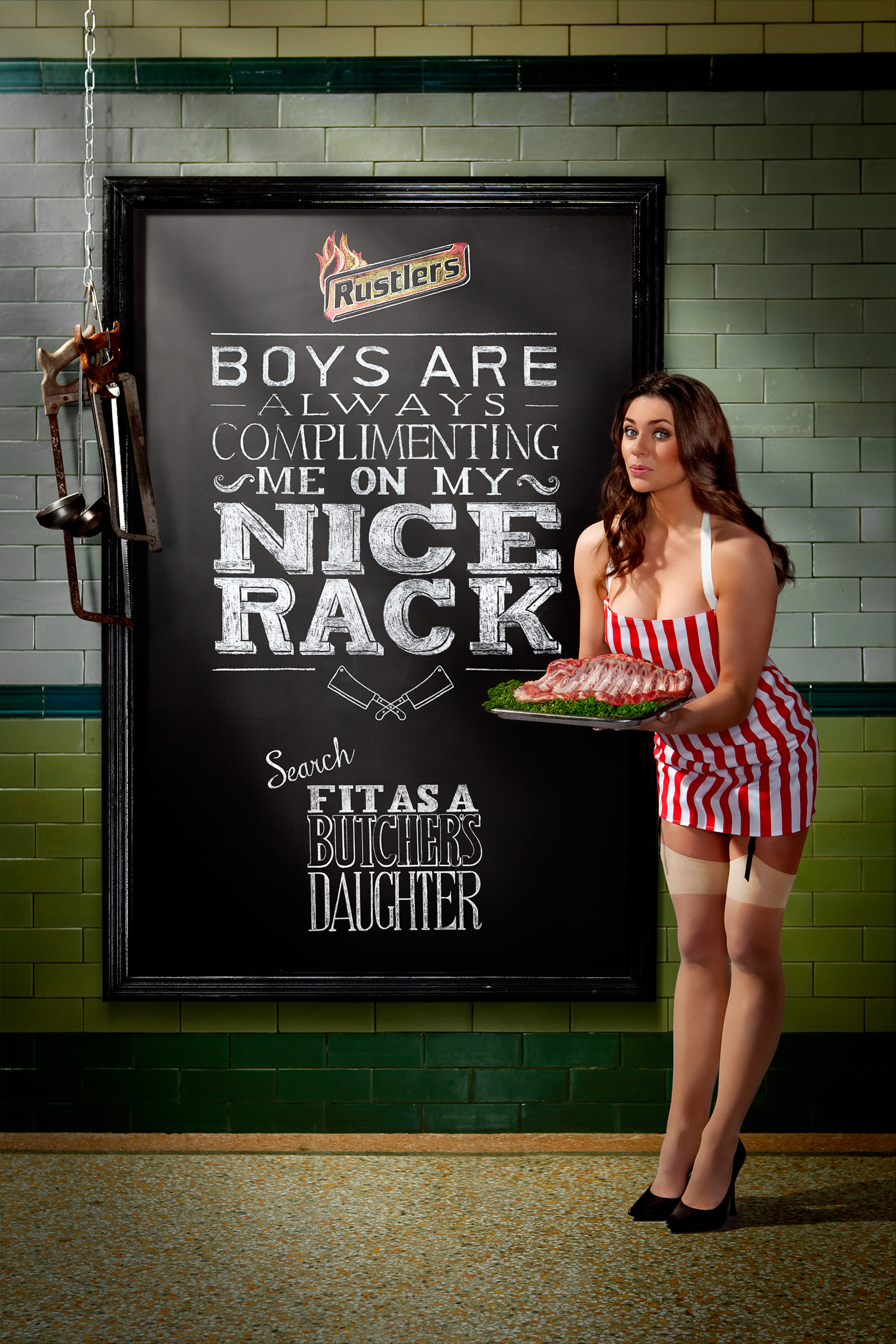 'Fit as a Butcher's Daughter' racy campaign for Rustler's