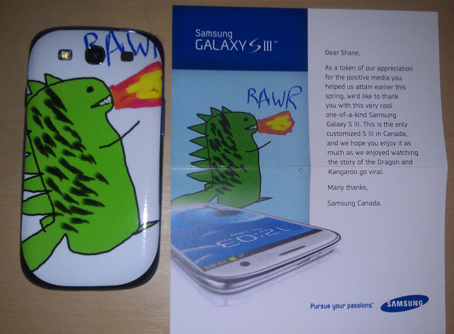Samsung thank fan who sent them a cute dragon drawing with a free customised Galaxy SIII
