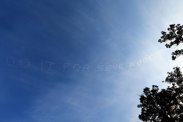 Tweets written in the sky by Paddy Power stunt planes to support Team Europe at the Ryder Cup