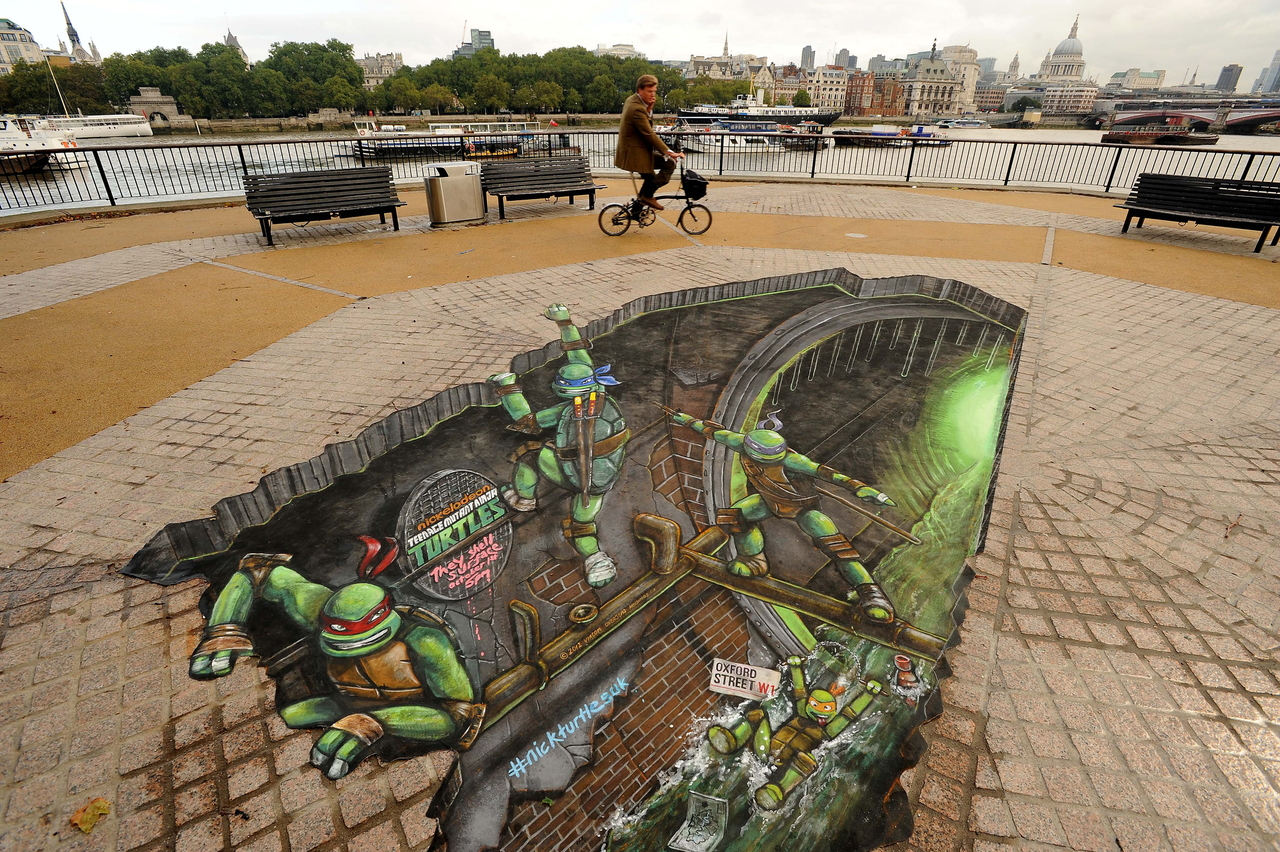 Ninja Turtles crawl out of 3D artwork sewers to promote new Nick series