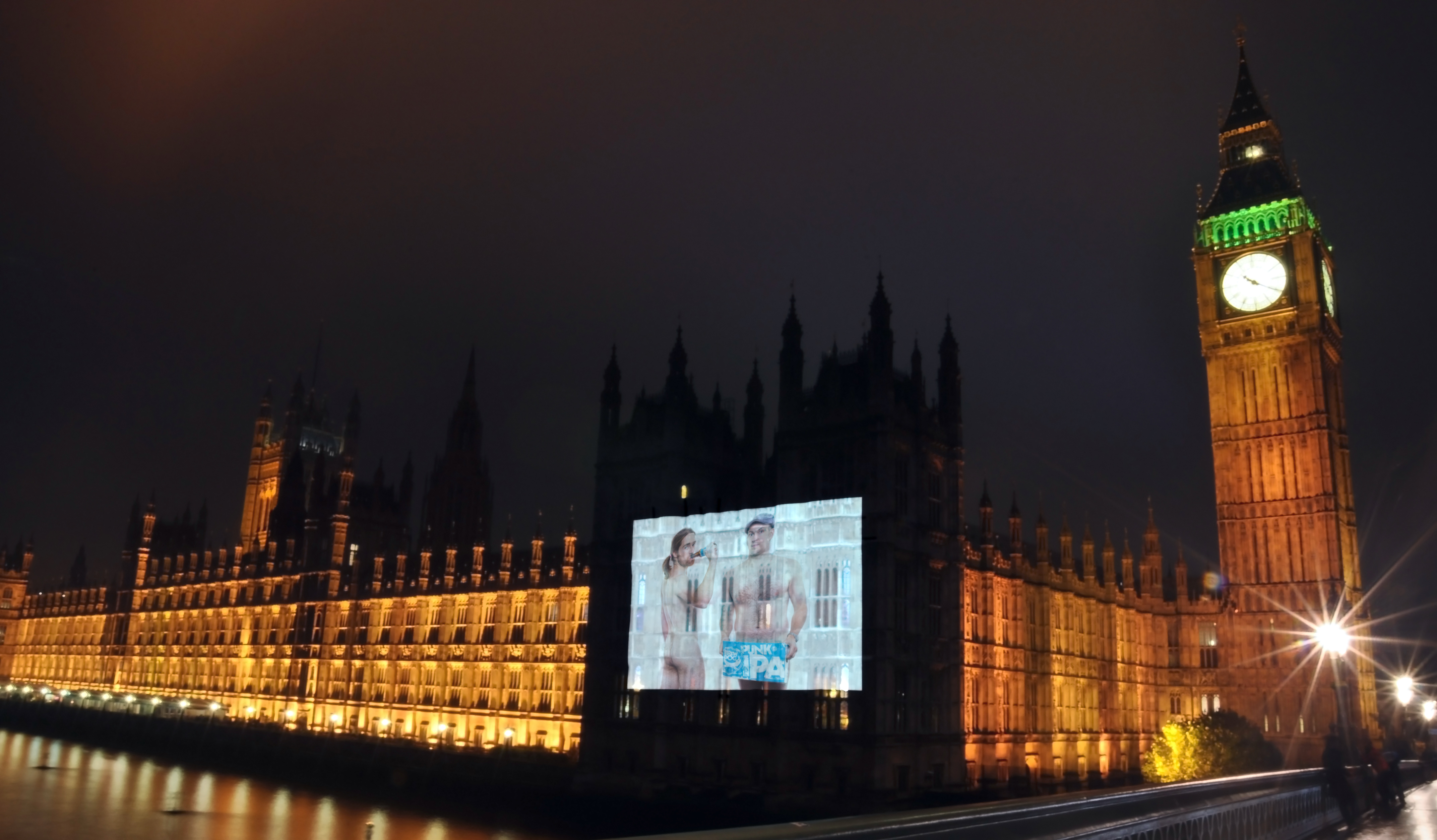 Naked 60ft image of BrewDog founders projected onto Houses of Parliament, parodying Gail Porter