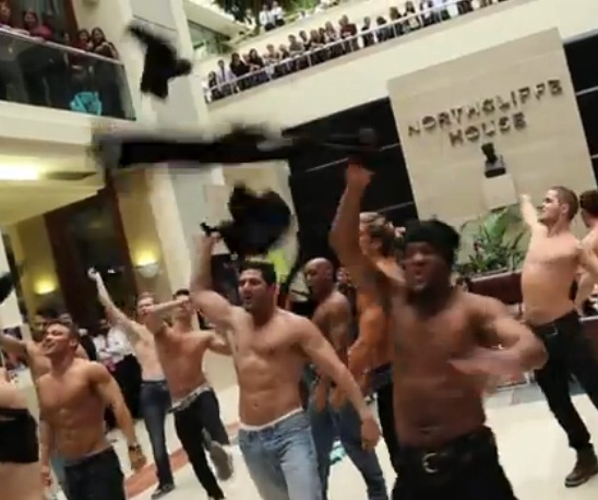 Magic Mike 'Flesh Mob' on Oxford Street and at Daily Mail HQ promotes DVD launch