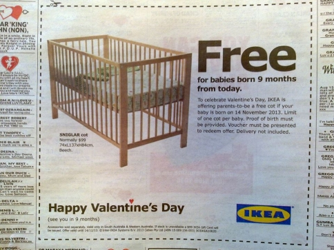 Ikea Valentine's – Free cot for babies born 9 months from today