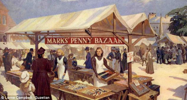 An artist's impression of the very first stall run by Michael Marks