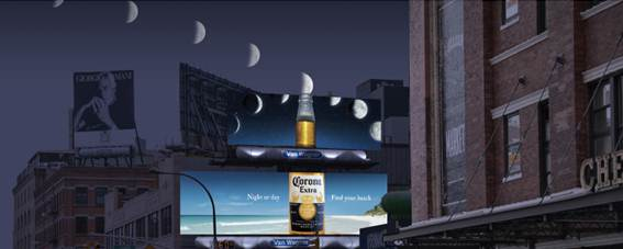 Corona billboard transforms the moon into a lime