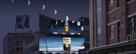Corona billboard transforms the moon into a lime