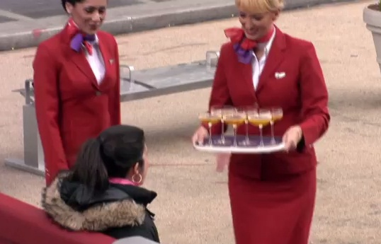 Virgin Atlantic take over park bench in NYC to give public 'taste' of the flight experience