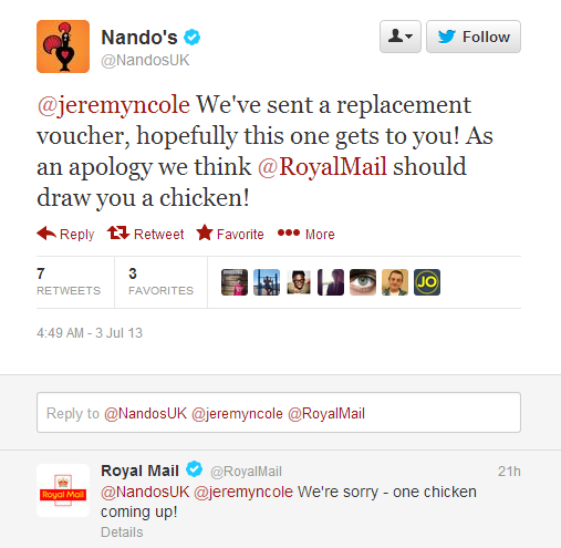 Cluck Cluck! Royal Mail apologises for lost Nando's voucher with chicken pic