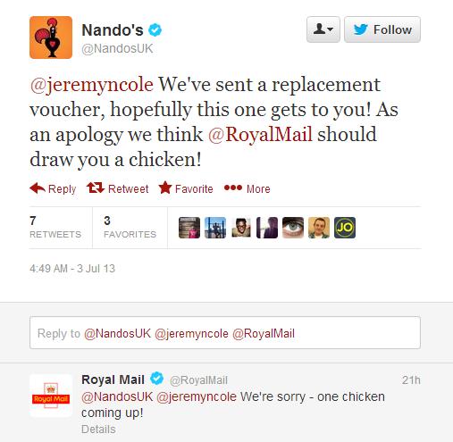 Nando's tweet