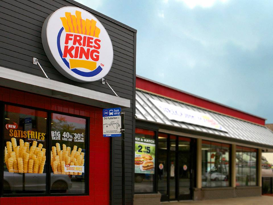 Burger king bravely changes name to fries king to launch for Fachadas de locales de comida rapida