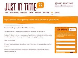 Just in Time PR's job advert