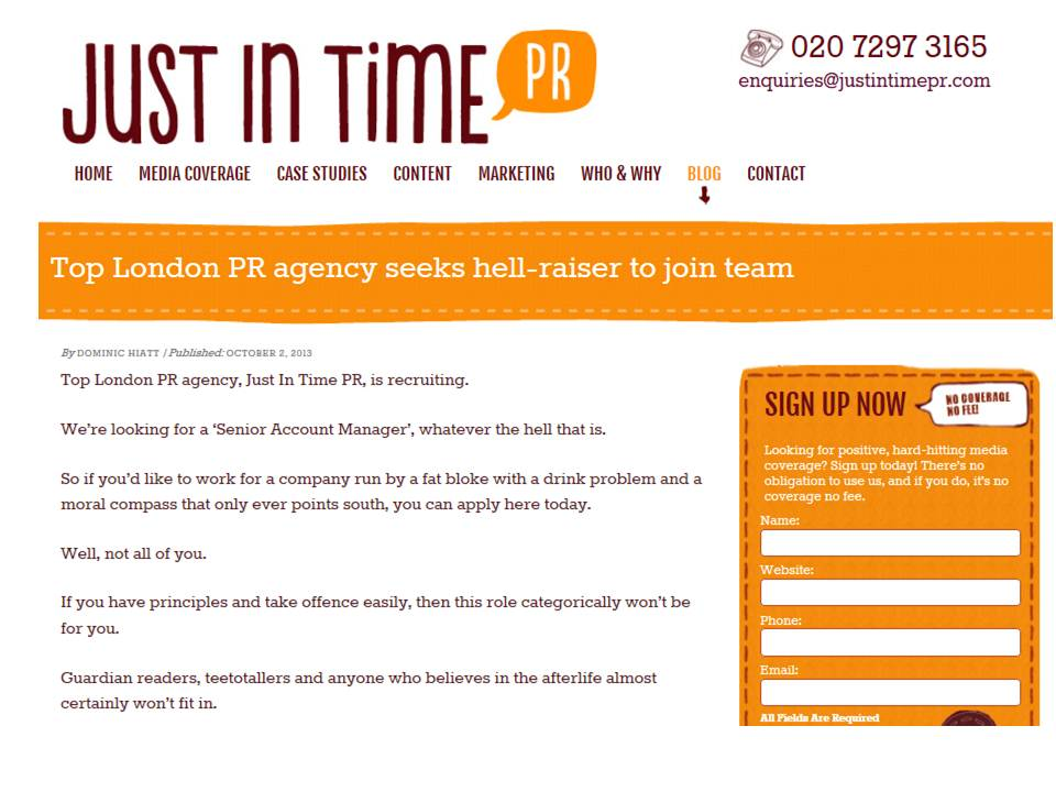 PR Vacancy – Anti-depressants and criminal record preferred