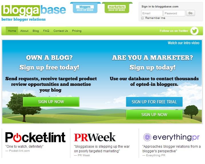 bloggabase screen