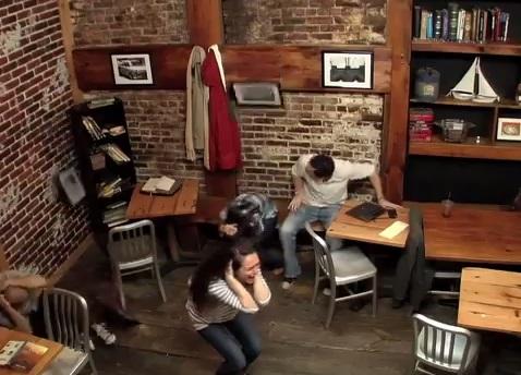 carrie pr stunt coffee shop telekinetic