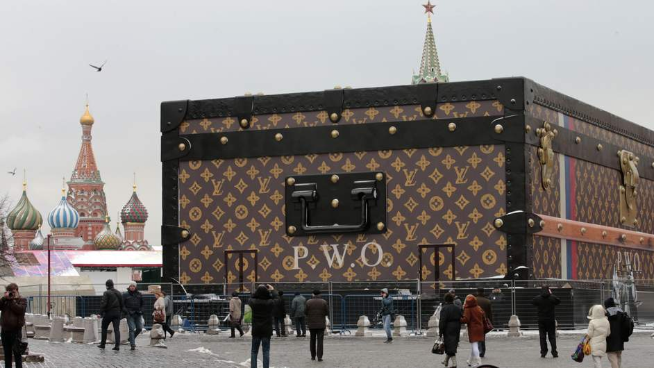 Louis Vuitton pavilion which is in the shape of a giant suitcase in Moscow