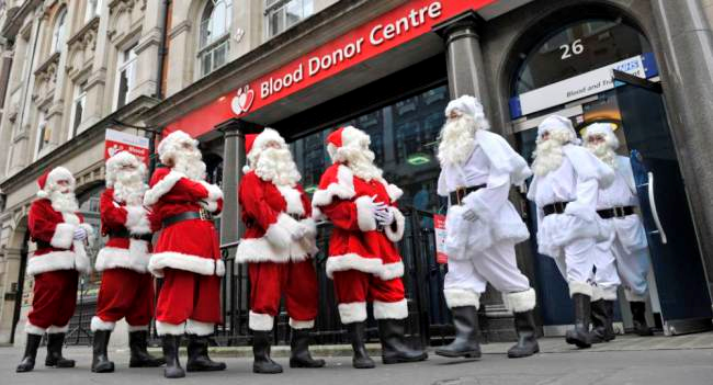 Blood count: Santas from across Britain line up to give blood at the West End donor centre just off Oxford Street in London (Picture: Adrian Brooks/Imagewise)