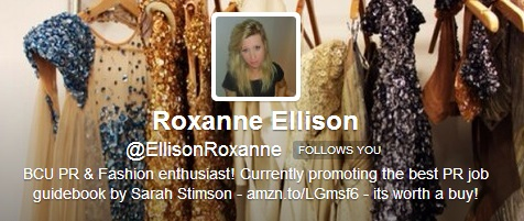 Twitter bio Roxanne Ellison