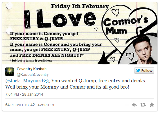 Nightclub Visited by Pop Star Gives Free Entry to People Named Conor