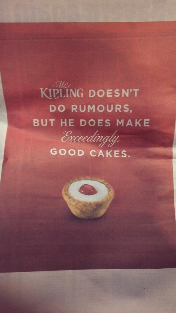 Mr Kipling exceedingly good cakes ad metro