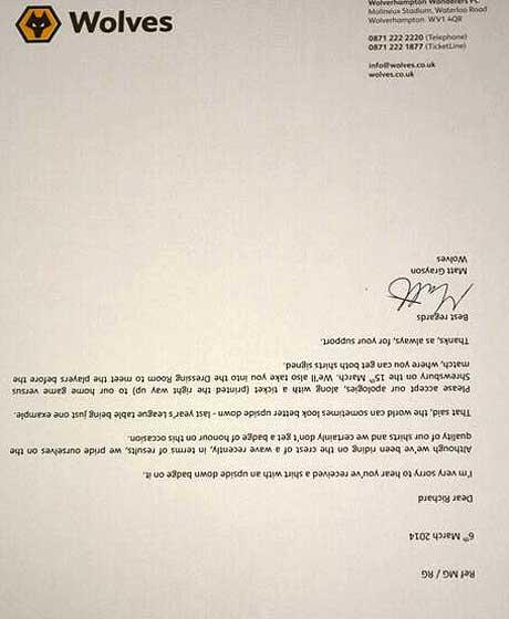 wolves response letter