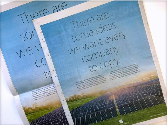 Apple encourage Samsung to copy their ideas in cheeky print ad