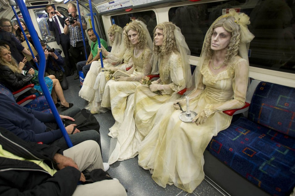 Commuters joined by five ghostly Miss Havershams in TV adaptation PR stunt