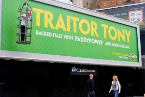 Paddy Power cage up 'traitor' who backed Italy and hang him from billboard