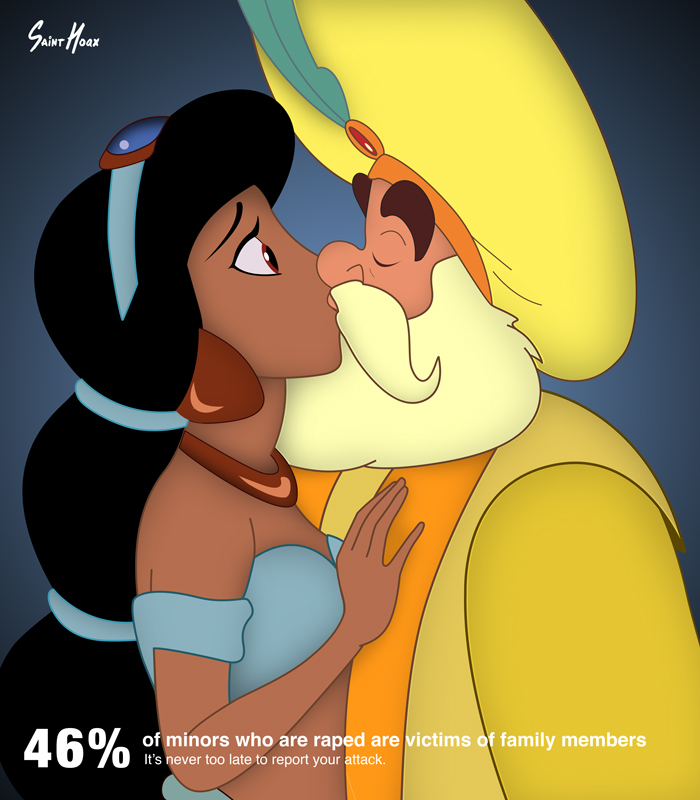 Disney princesses used in incestuous rape awareness posters