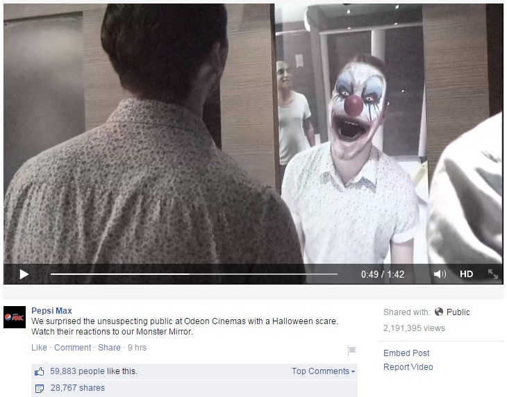 'Monster Mirror' Hallowe'en PR prank shocks unsuspecting moviegoers