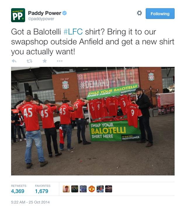 Paddy Power offer 'Balotelli Shirt Swap' outside Anfield
