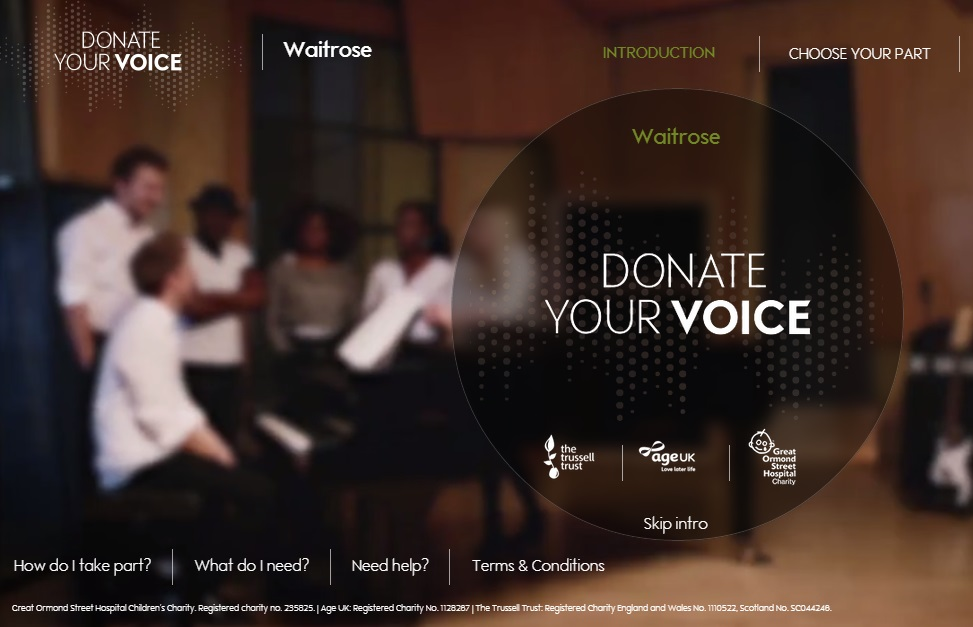 Members of the public asked to donate voices to Waitrose's Christmas charity single and TV ad