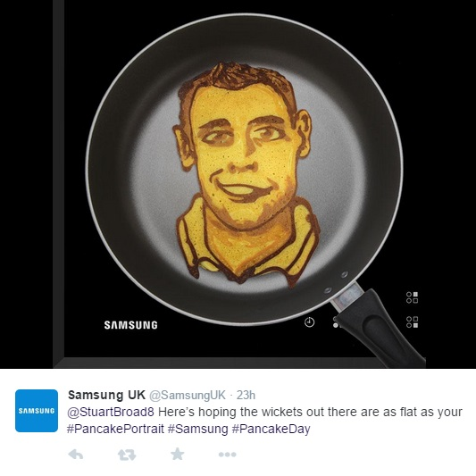 Pancake portraits as Samsung celebrate 'Pancake Day'