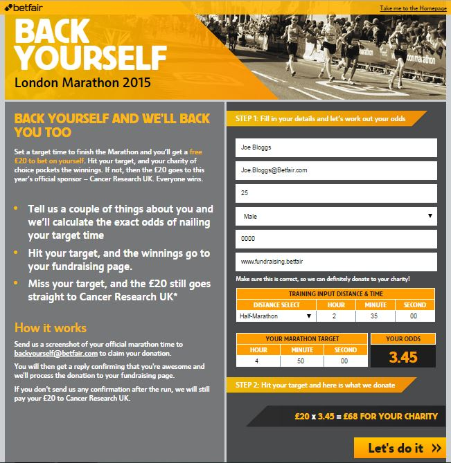 Betfair give London Marathon runners chance to back themselves in charity campaign
