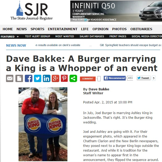 burger king paying for wedding of mr burger and miss king in great