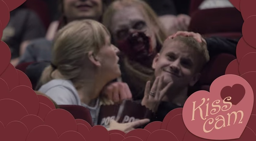 Moviegoers pranked by 'zombie kiss cam' in theme park stunt